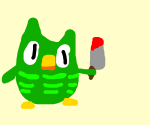 duo the owl with a bloddy knive