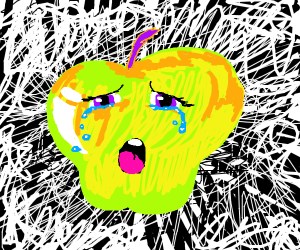 Green/yellow apple crying