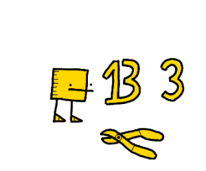 Yellow squar guy, 13, 3, and some pliers