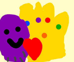 Thanos in love with the infinity gauntlet