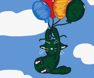 Black cat in the sky holding balloons