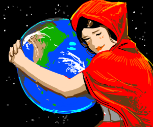 Little red riding hood loves the earth, hugs