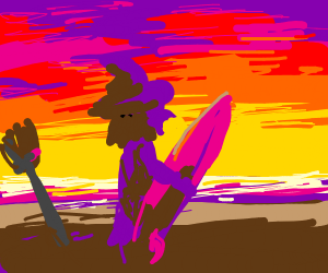 Purple witch on the beach
