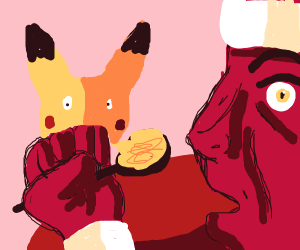 Chef and Pikachu eat macaroons together