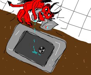 Demon bites faucet