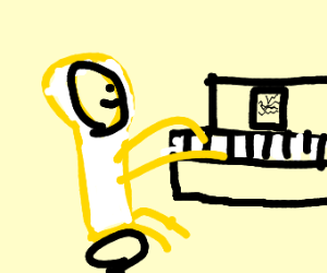 A yellow astronaut playing the piano