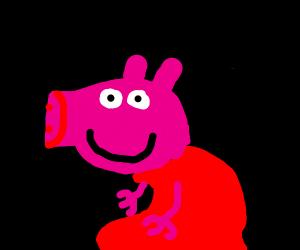 Peppa the pig looking menacing