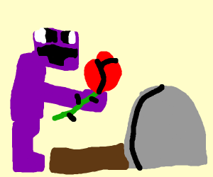 purple guy from FNAF visits a graveyard