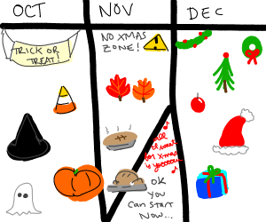 no Christmas immediately after halloween!