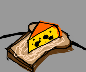 3d triangle cheese on slice bread