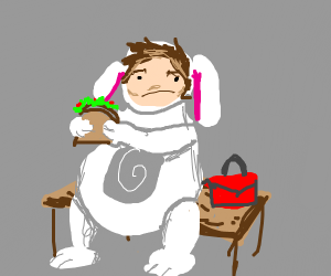 bunny costume guy on break