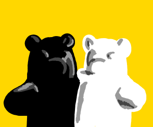 Black and white gummy bear