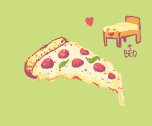 Bed happy to get a slice of pizza