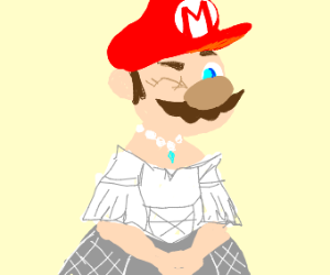 Mario in a wedding dress