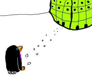 Penguin walks to work