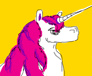 White unicorn with a pink mane