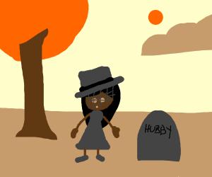 Widow grieving over dead husband