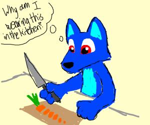 Man in blue fursiut cuts vegtables