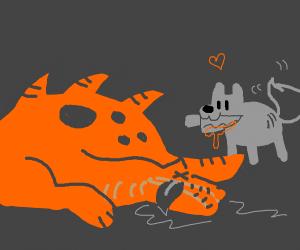 Wolf kills dragon