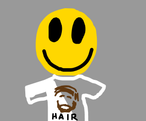 smiley face with hair t shirt