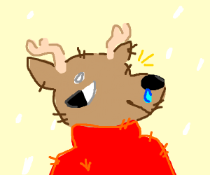 sick deer with red shirt