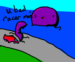 Octopus insults a racer