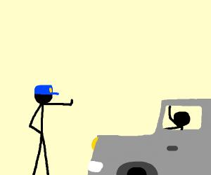 Policeman stops a car