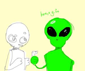 alien gifts human finger