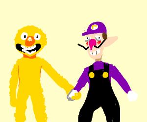yellmo and waluigi holding hands