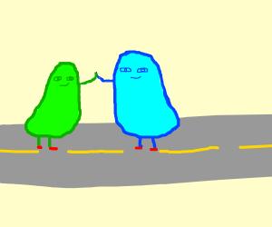 Two high-fiving slimeballs running on da road