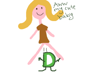 A woman gives birth to a baby Drawception D