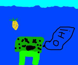 a sick green SpongeBob says oh