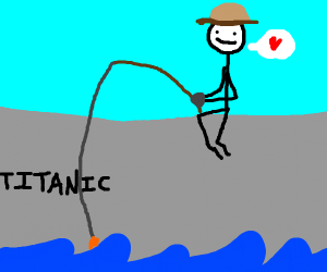 """Man, I love fishing on this new 'Titanic'"""