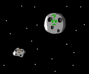 Moon is suspicious of happy little asteroid