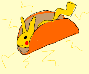 pikachu in a taco shell