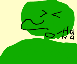 green guy with long nose laughing