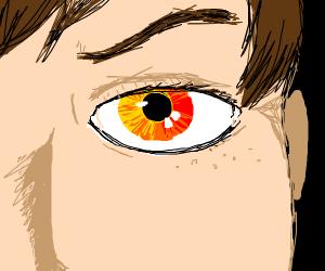 closeup of angry yellow eye