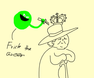 Evil pea will stab the queen !