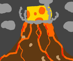 put cheese on a volcano