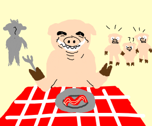 Pig eating bacon in front of the piglets