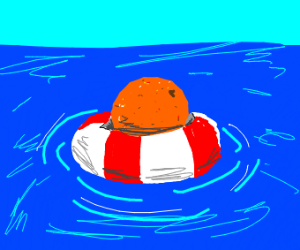 An orange with a floatation device