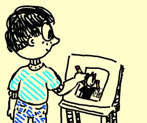 Drawing a man drawing