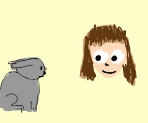 momo lookin at a bunny