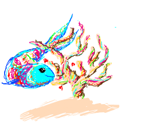 rainbow fish in love with rainbow coral