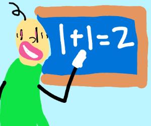 bald crazy person does math