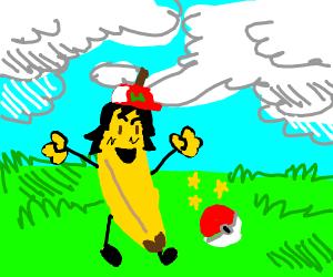 Banana ash ketchum catches pokemon in pokebal