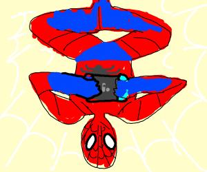 Spiderman plays Nintendo Switch