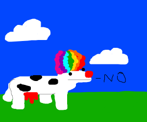Clown cow with a phone that refuses