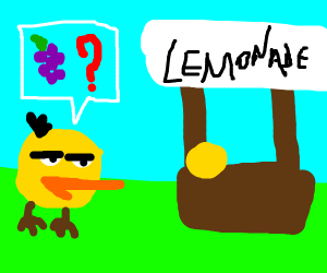 duck robs lemonade stand for grapes