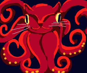 scary red octopus cat